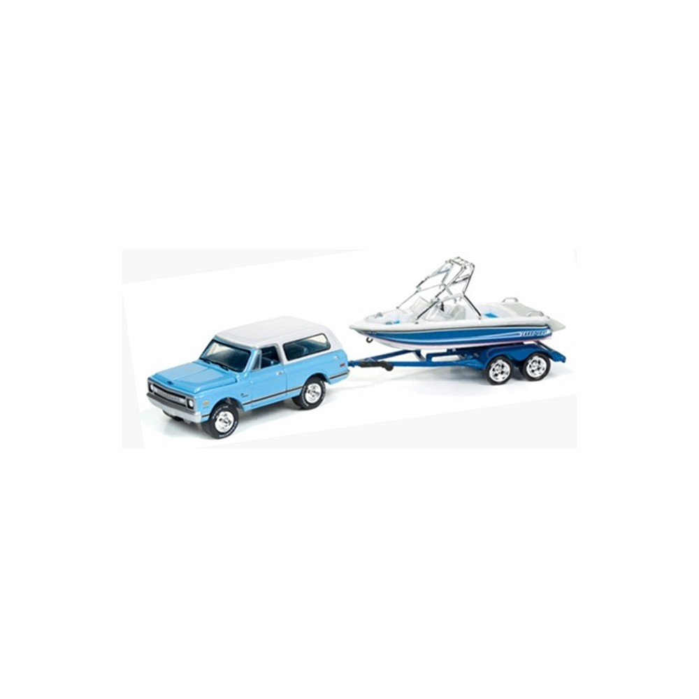 Johnny Lightning Gone Fishing 1969 Chevy Blazer With Boat On Trailer 1968 Lifted Release 2b