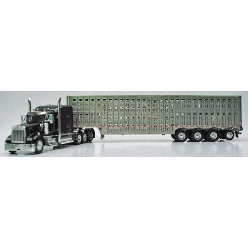 DCP Kenworth W900 with Wilson Livestock Trailer - Black