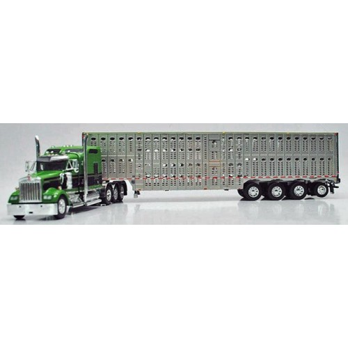 DCP Kenworth W900 with Wilson Livestock Trailer - Green/Black