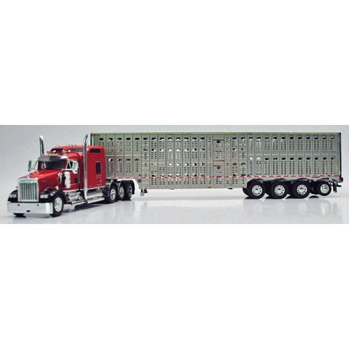 DCP Kenworth W900 with Wilson Livestock Trailer - Red