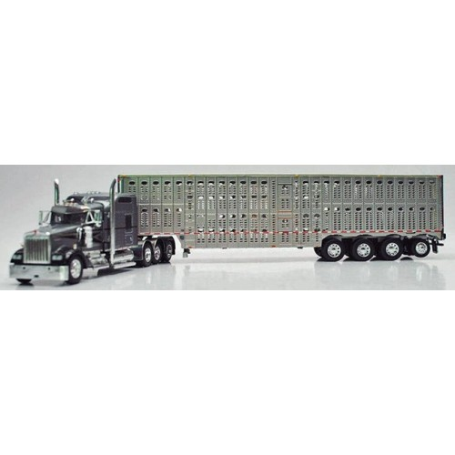 DCP Kenworth W900 with Wilson Livestock Trailer - Gray