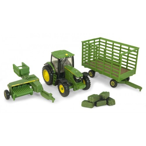 John Deere 6210R Tractor with 338 Baler and Bale Wagon