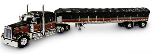 DCP Kenworth W900 with Wilson Flatbed Trailer and Covered Wagon Load