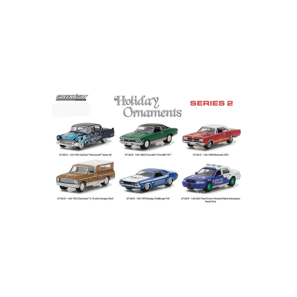Greenlight Holiday Ornaments Series 2 Six Car Set 1970 Ford Crown Victoria 2017