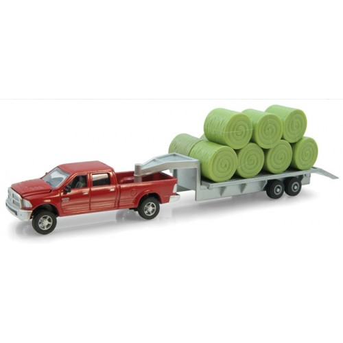 Dodge RAM Pickup with Trailer and Hay Bale Load