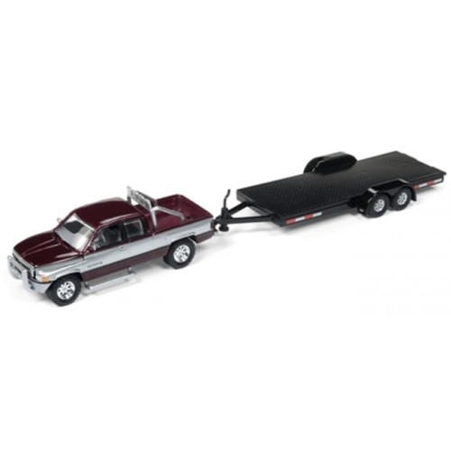 Johnny Lightning Truck and Trailer 1996 Dodge RAM with Open Trailer