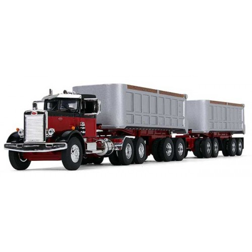 First Gear Peterbilt Model 351 Day Cab with Dual Dump Trailers