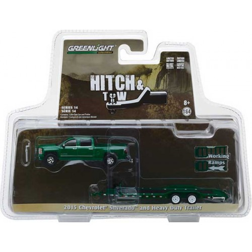 Greenlight Hitch and Tow Series 14 - 2015 Chevy Silverado with Car Hauler Trailer