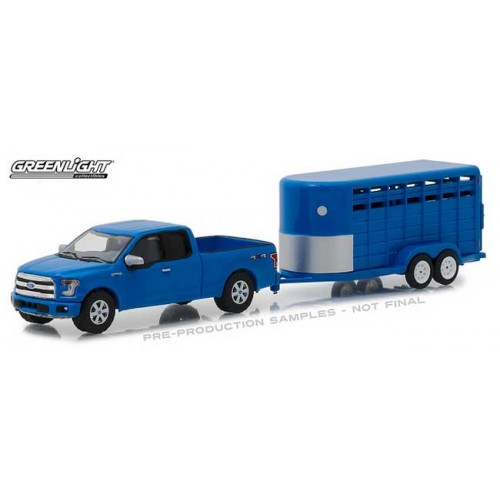Greenlight Hitch and Tow Series 14 - 2016 Ford F-150 with Livestock Trailer