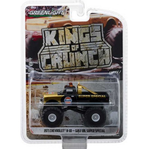 Greenlight Kings of Crunch Series 1 - 1971 Chevy K-10 Monster Truck Gulf Oil