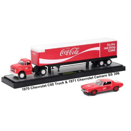 M2 Machines Coca-Cola Haulers - 1970 Chevy C60 Truck with 1971 Chevy Camaro SS 396