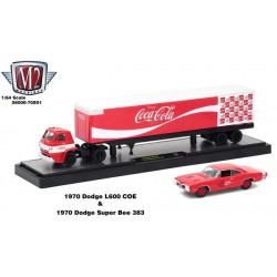 M2 Machines Coca-Cola Haulers - 1970 Dodge L600 Truck and 1970 Dodge Super Bee 383