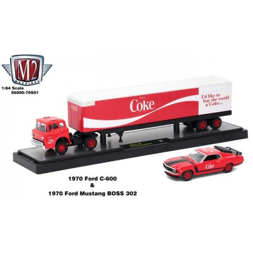 M2 Machines Coca-Cola Haulers - 1970 Ford C-600 and 1970 Ford Mustang BOSS 302