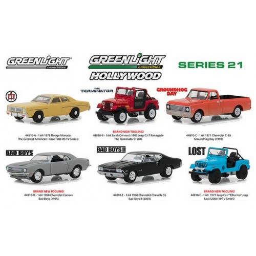 Greenlight Hollywood Series 21 - Six Car Set
