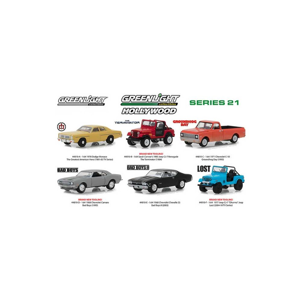 Greenlight Hollywood Series 21 - Six Car Set