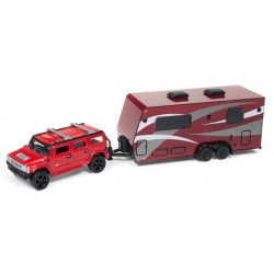 Johnny Lightning Truck and Trailer 2004 Hummer H2 with Camper Trailer