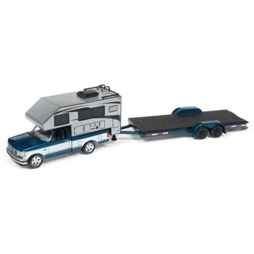 Johnny Lightning Truck and Trailer 1993 Ford F-150 Camper with Open Trailer