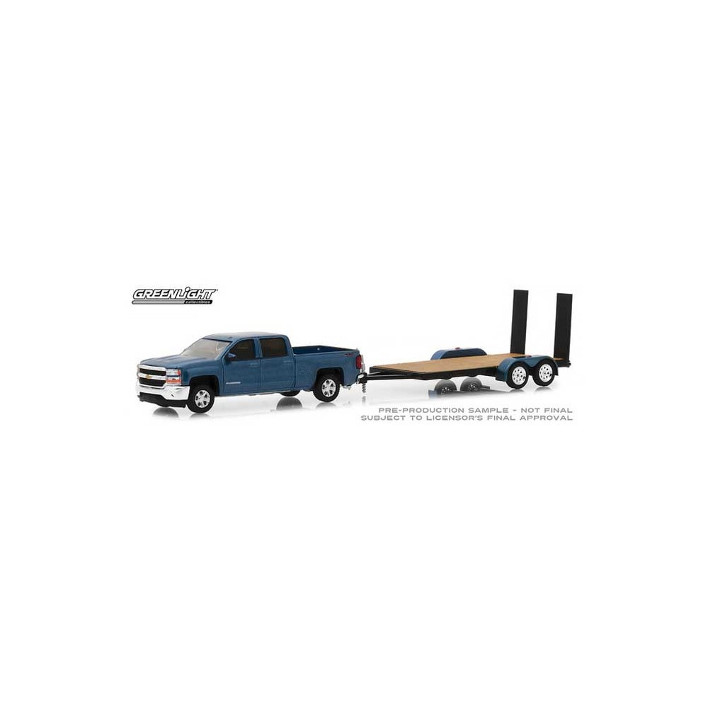 Greenlight Hitch and Tow Series 15 - 2018 Chevy Silverado 1500 with Flatbed Trailer