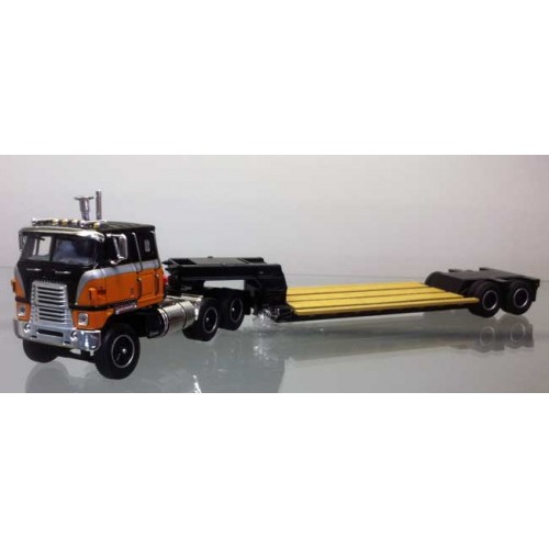DCP International Transtar with Rogers Lowboy Trailer Orange and Black