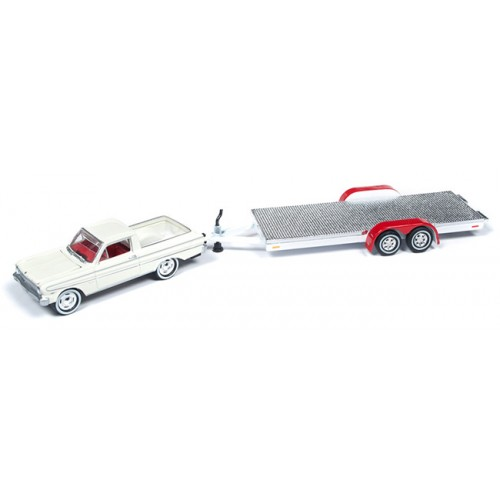 Johnny Lightning Truck and Trailer - 1964 Ford Ranchero with Car Trailer