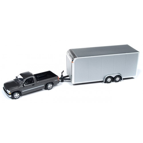 Johnny Lightning Truck and Trailer - 2000 Chevy Silverado with Car Trailer