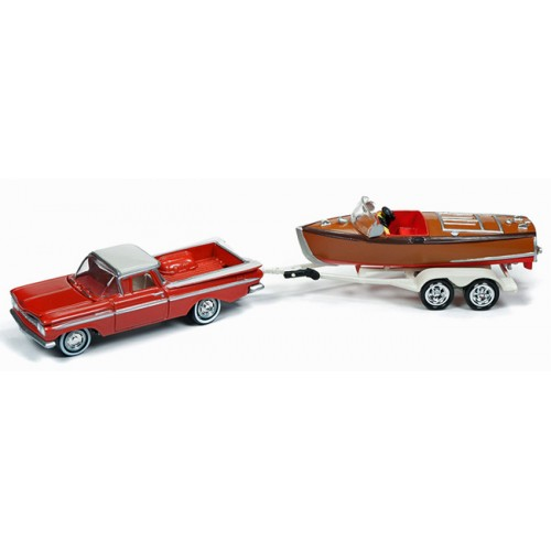 Johnny Lightning Hull and Haulers - 1959 Chevy El Camino with Boat
