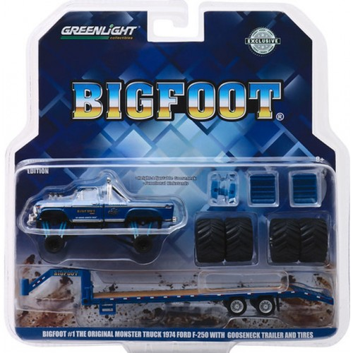 Greenlight Hobby Exclusive - Bigfoot Ford F-250 Monster Truck on Gooseneck Trailer