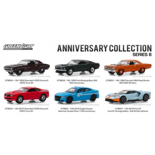 Greenlight Anniversary Collection Series 8 - Six Car Set