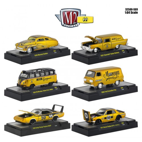 M2 Machines Mooneyes Liquid Gold - Six Car Set