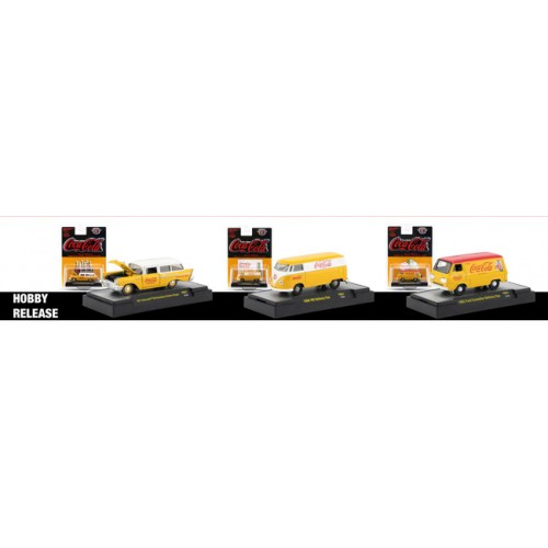 M2 Machines Coca-Cola Yellow Release 1 -  Three Car Set
