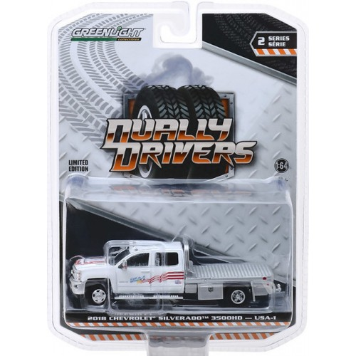Greenlight Dually Drivers Series 2 - 2018 Chevy Silverado 3500 Flatbed USA-1