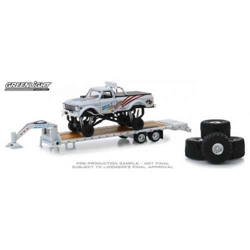 Greenlight Hobby Exclusive - 1970 Chevy K-10 Monster Truck on Gooseneck Trailer USA-1
