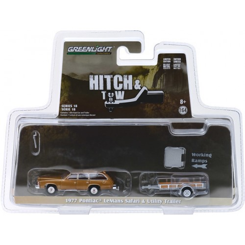 Greenlight Hitch and Tow Series 18 - 1977 Pontiac LeMans and Utility Trailer