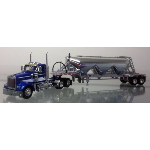 DCP Kenworth W900L Day Cab with Chrome 3 Bay Pneumatic Trailer