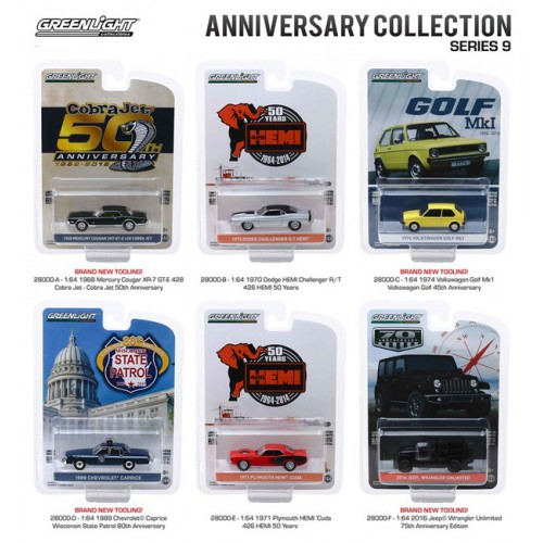 Greenlight Anniversary Collection Series 9 - Six Car Set