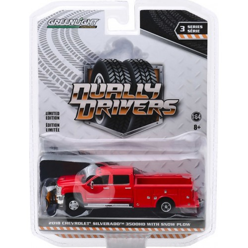 Greenlight Dually Drivers Series 3 - 2018 Chevy Silverado 3500 with Service Bed and Snow Plow