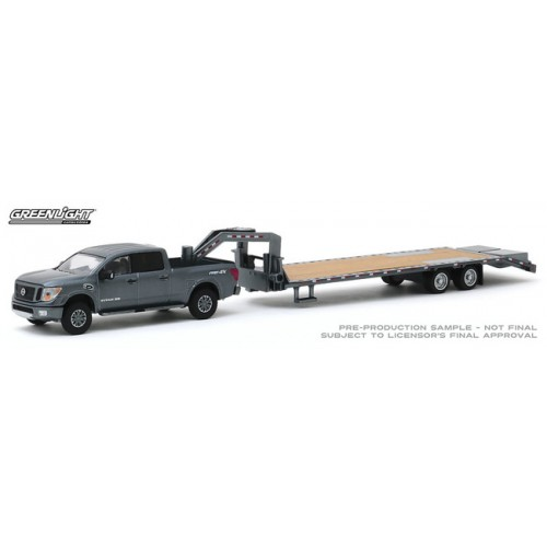 Greenlight Hitch and Tow Series 19 - 2018 Nissan Titan and Gooseneck Trailer