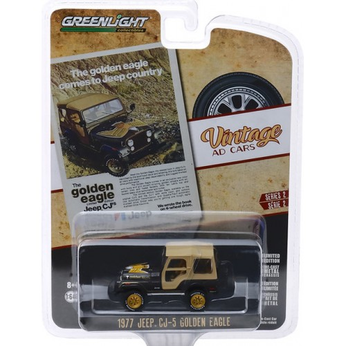 Greenlight Vintage Ad Cars Series 2 - 1977 Jeep CJ-5 Golden Eagle
