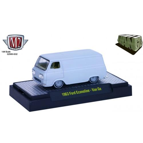M2 Machines Van Go Hobby Exclusive Release 32500-S32 - 1963 Ford Econoline Van Primer Gray
