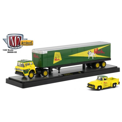 M2 Machines Auto-Haulers Release 32 - 1957 Mack Model N with 1956 Ford F-100 Truck