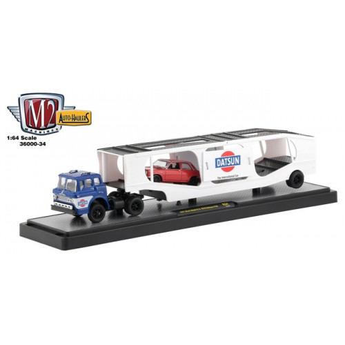 M2 Machines Auto-Haulers Release 34 - 1957 Mack Model N with 1970 Datsun 510