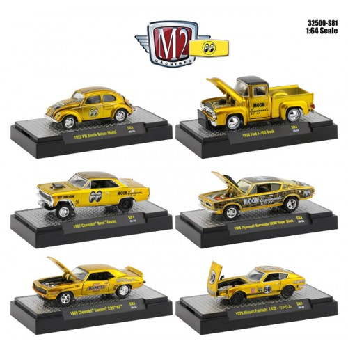 M2 Machines Mooneyes Liquid Gold Speical Release 2 - Six Car Set