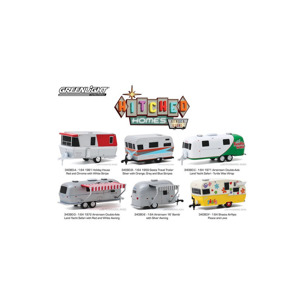 Greenlight Hitched Homes Series 8 - Six Camper Trailer Set