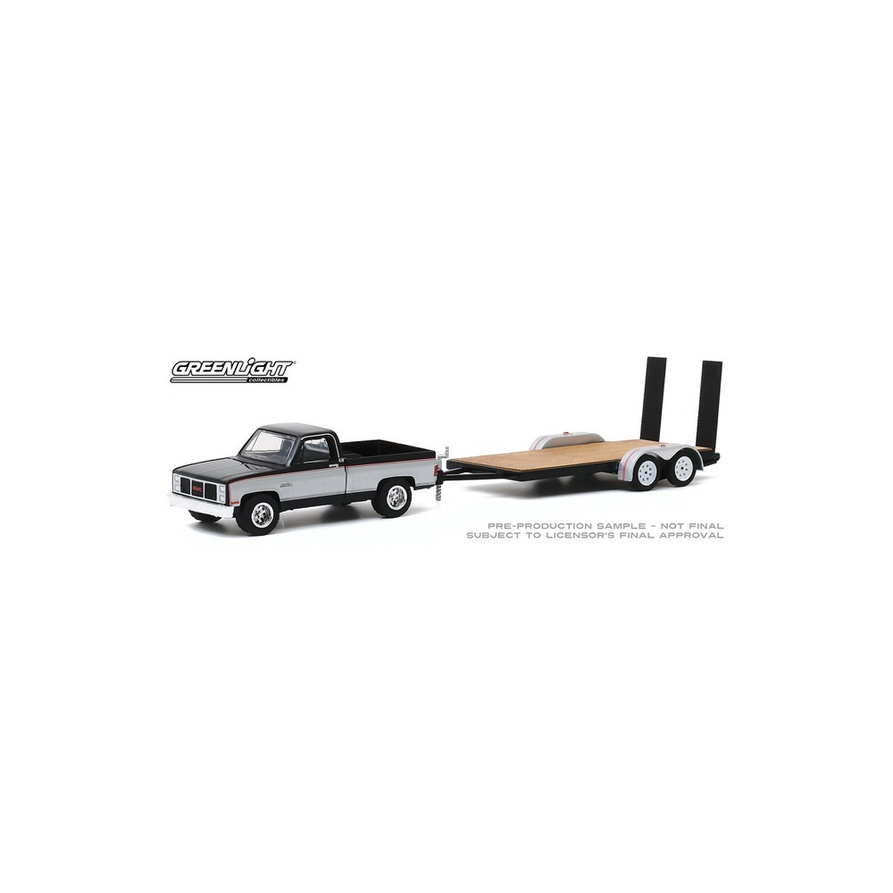 Greenlight Hitch and Tow Series 20 - 1986 GMC Sierra Classic 2500 with Flatbed Trailer
