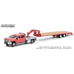 Greenlight Hitch and Tow - 2018 Chevy 3500 Flatbed Dually with Gooseneck Trailer