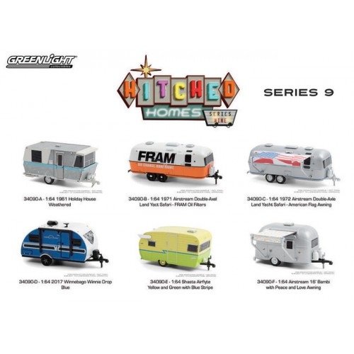 Greenlight Hitched Homes Series 9 - Six Camper Trailer Set