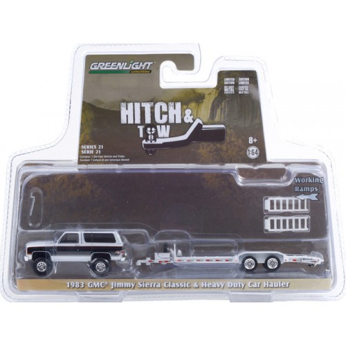 Greenlight Hitch and Tow Series 21 - 1983 GMC Jimmy Sierra and Heavy Duty Car Hauler
