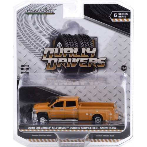 Greenlight Dually Drivers Series 6 - 2018 Chevrolet Silverado 3500 Dually with Service Bed and Snow Plow