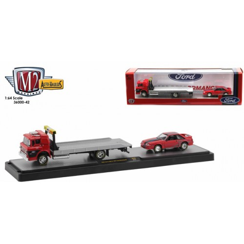 M2 Machines Auto-Haulers Release 42 - 1966 Ford C-950 Flatbed Truck with 1987 Ford Mustang GT
