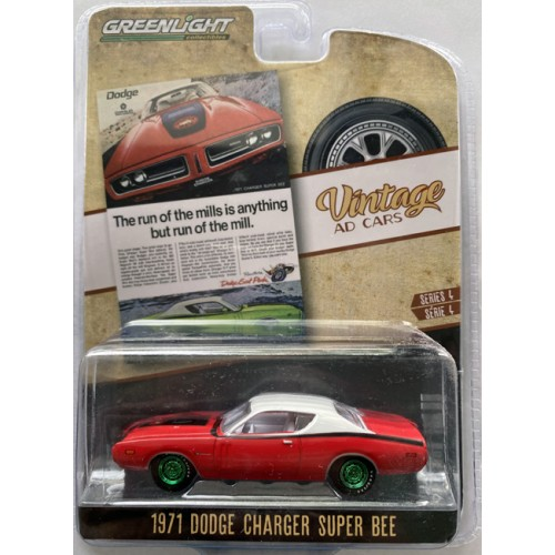 Greenlight Vintage Ad Cars Series 4 - 1971 Dodge Charger Super Bee Green Machine Chase Version
